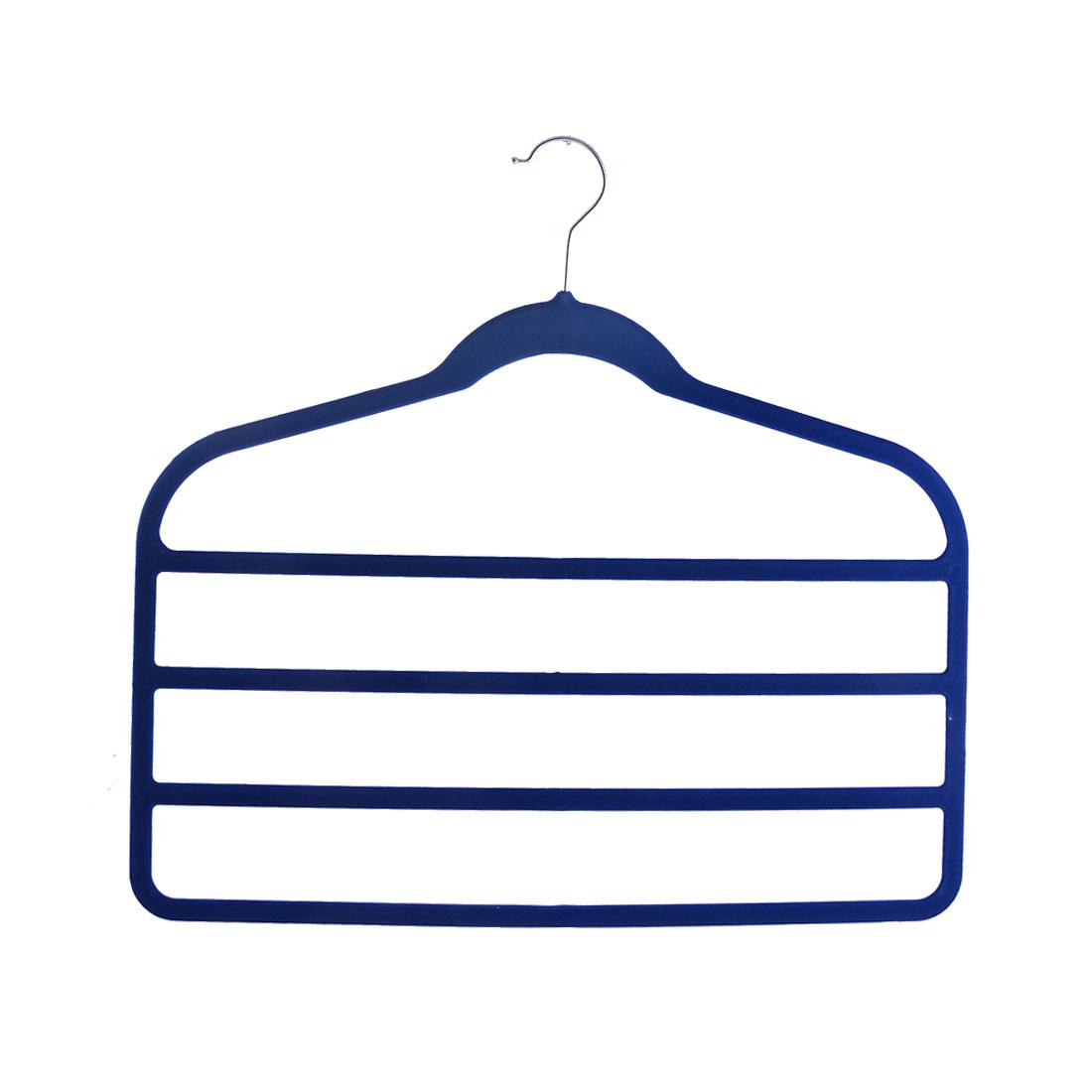 Home Velvet Anti-slip Shawl Coat Towel Clothes Trousers Holder Rack Organizer Blue