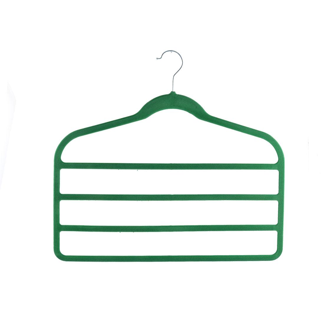 Home Velvet Anti-slip Shawl Coat Towel Clothes Trousers Holder Rack Organizer Green