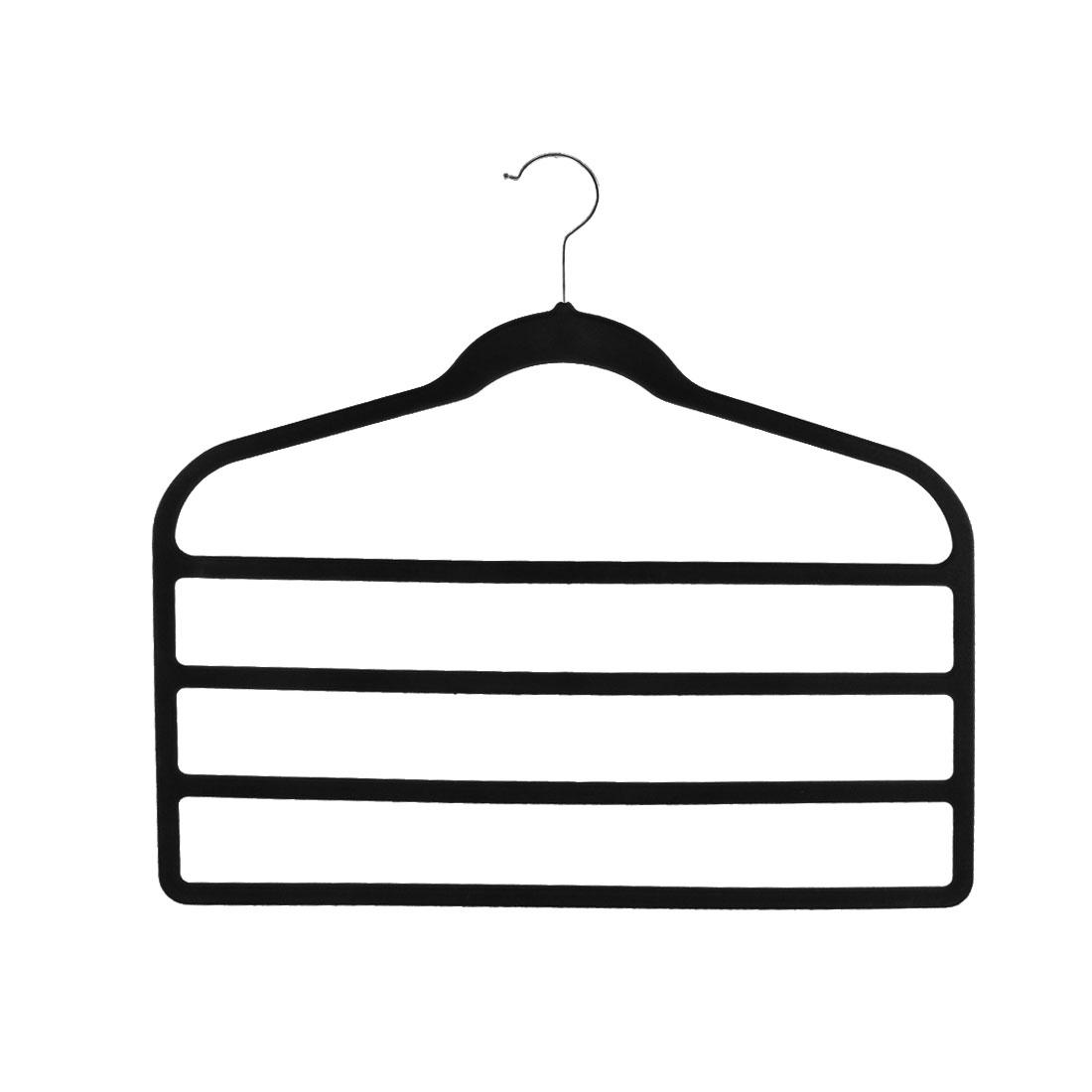 Home Velvet Anti-slip Shawl Coat Towel Clothes Trousers Holder Rack Organizer Black