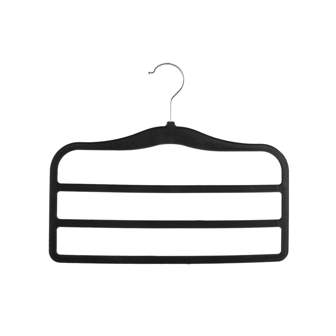 Household Velvet Anti-slip Shawl Coat Towel Clothes Trousers Holder Rack Black