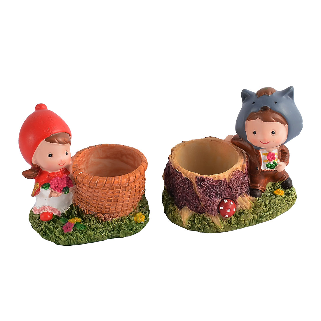 Office Bedroom Resin Fleshy Gifts Cartoon Characters Flower Pot 2pcs