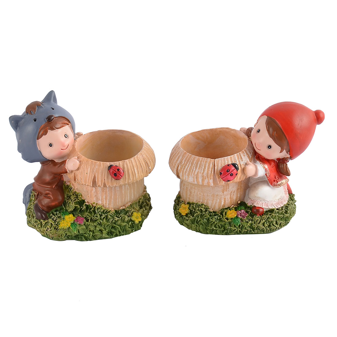 Office Desk Home Bedroom Mini Resin Cartoon Plant Flower Pot Decoration 2 in 1