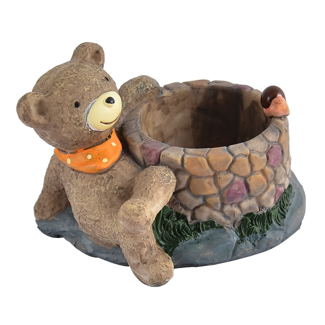 Garden Office Decorative Resin Bib Little Bear Grass Flower Pot Brown