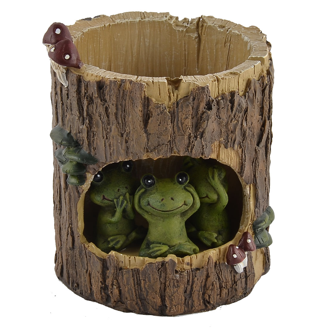 Home Garden Office Resin Tree Hole Frog Shaped Aloes Cactus Plant Flower Pot Brown Green