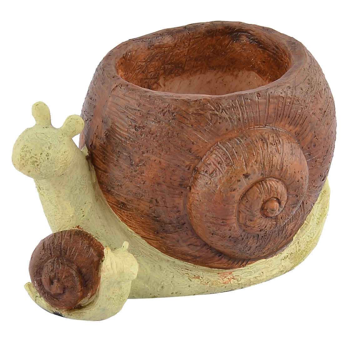 Home Garden Office Resin Snail Shaped Aloes Cactus Plant Flower Pot Brown Beige