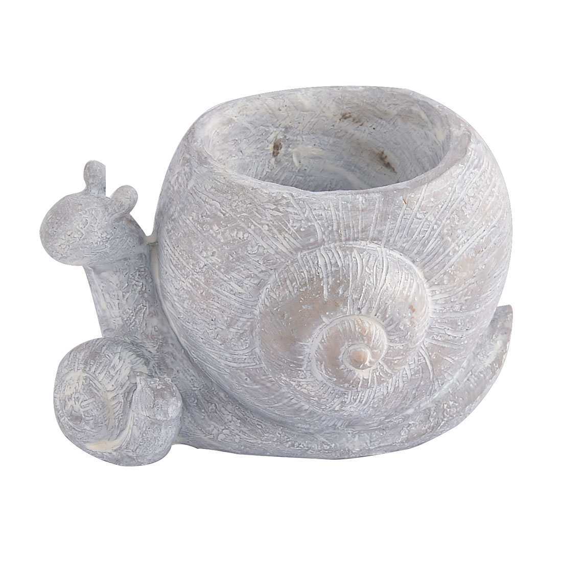 Household Office Resin Snail Shaped Aloes Cactus Flower Pot Light Gray