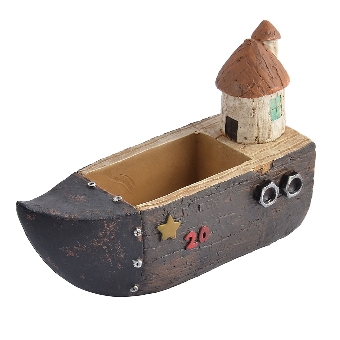 Home Office Desk Ornament Resin Mini Boat House Shaped Plant Flower Pot