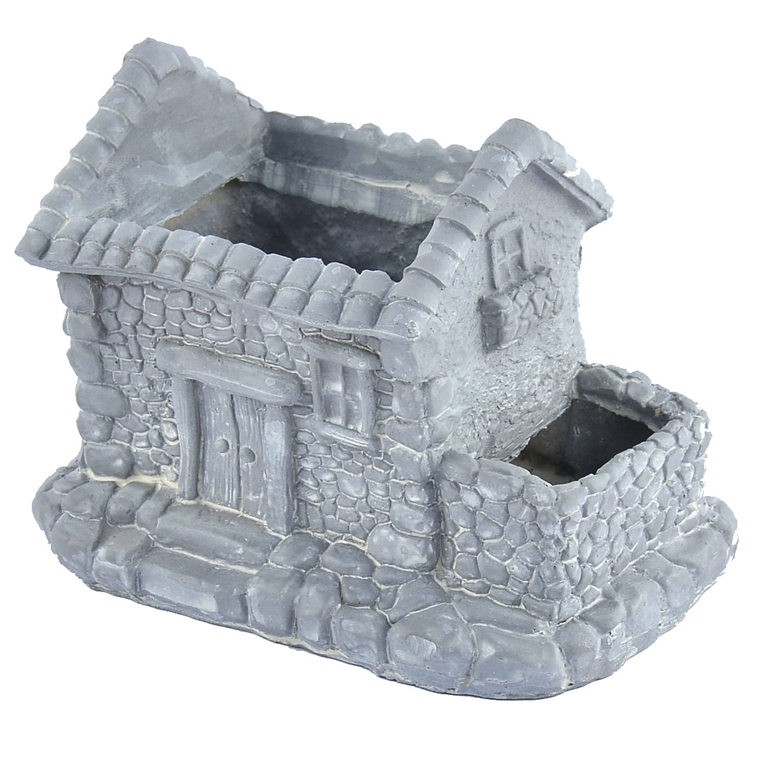 Household Garden Office Resin House Shaped Aloes Cactus Plant Flower Pot Gray