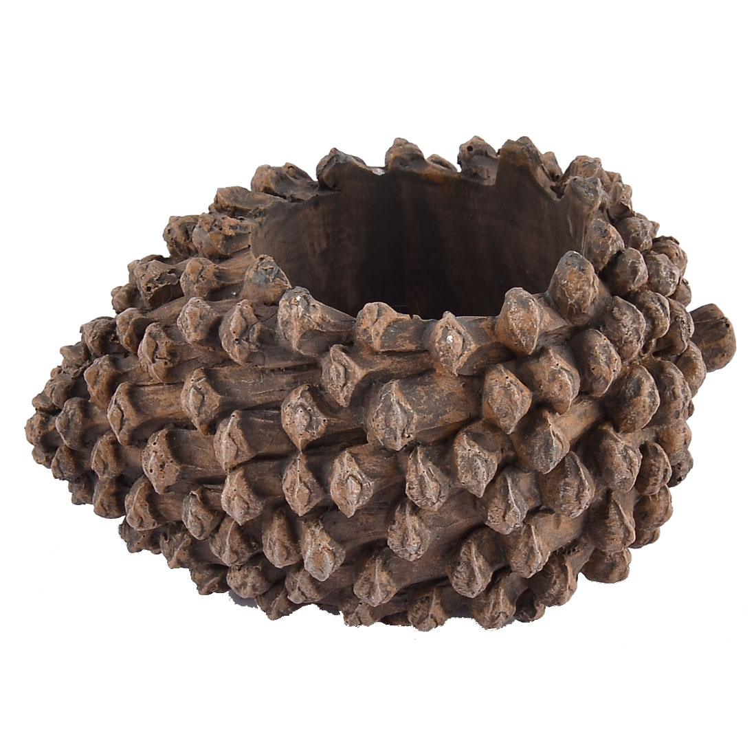 Home Garden Office Resin Pinecone Shaped Aloes Cactus Plant Flower Pot Brown