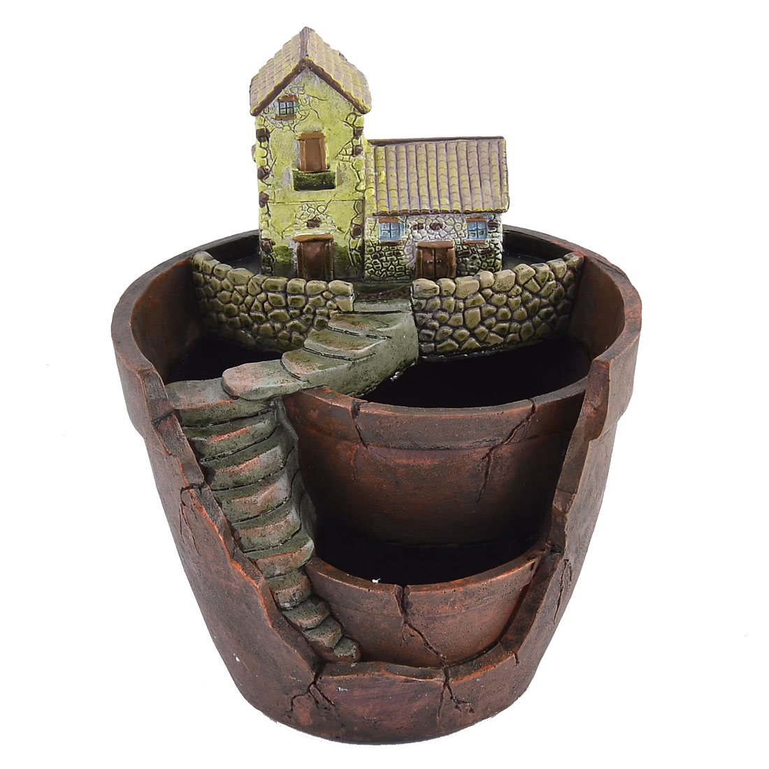 Home Garden Office Resin House Shaped Aloes Cactus Plant Flower Pot Brown Green