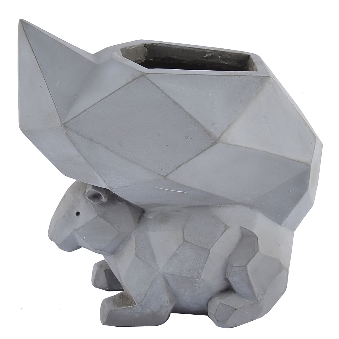 Home Garden Office Resin Squirrel Shaped Plant Flower Pot Planter Light Gray