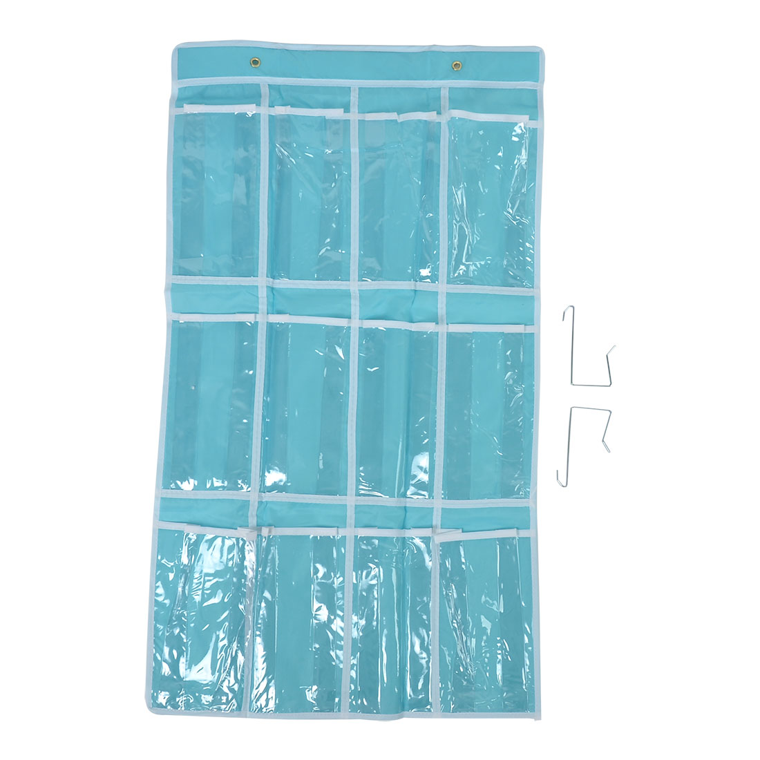 Household Home Wall Door Closet 12 Pockets Hanging Pouch Storage Bag Sky Blue