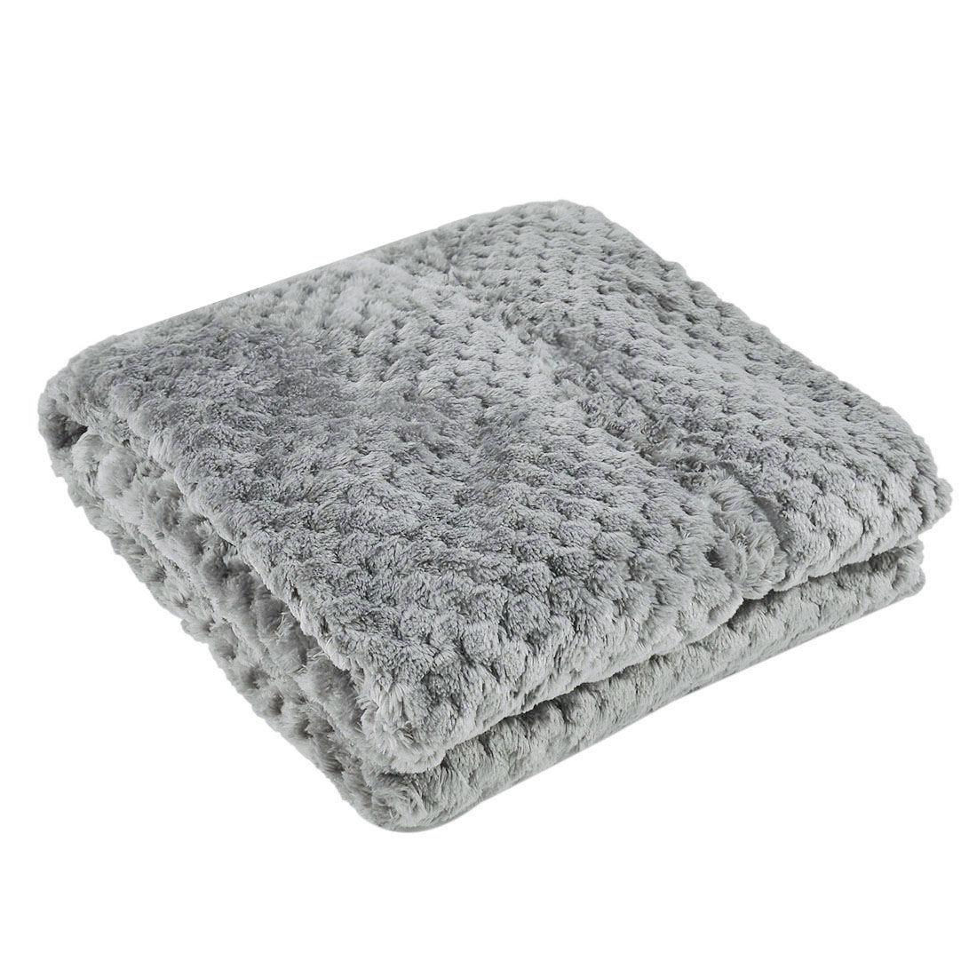 Home Travel Warm Soft Throw Mesh Blanket Rug Bed Quilt Light Gray