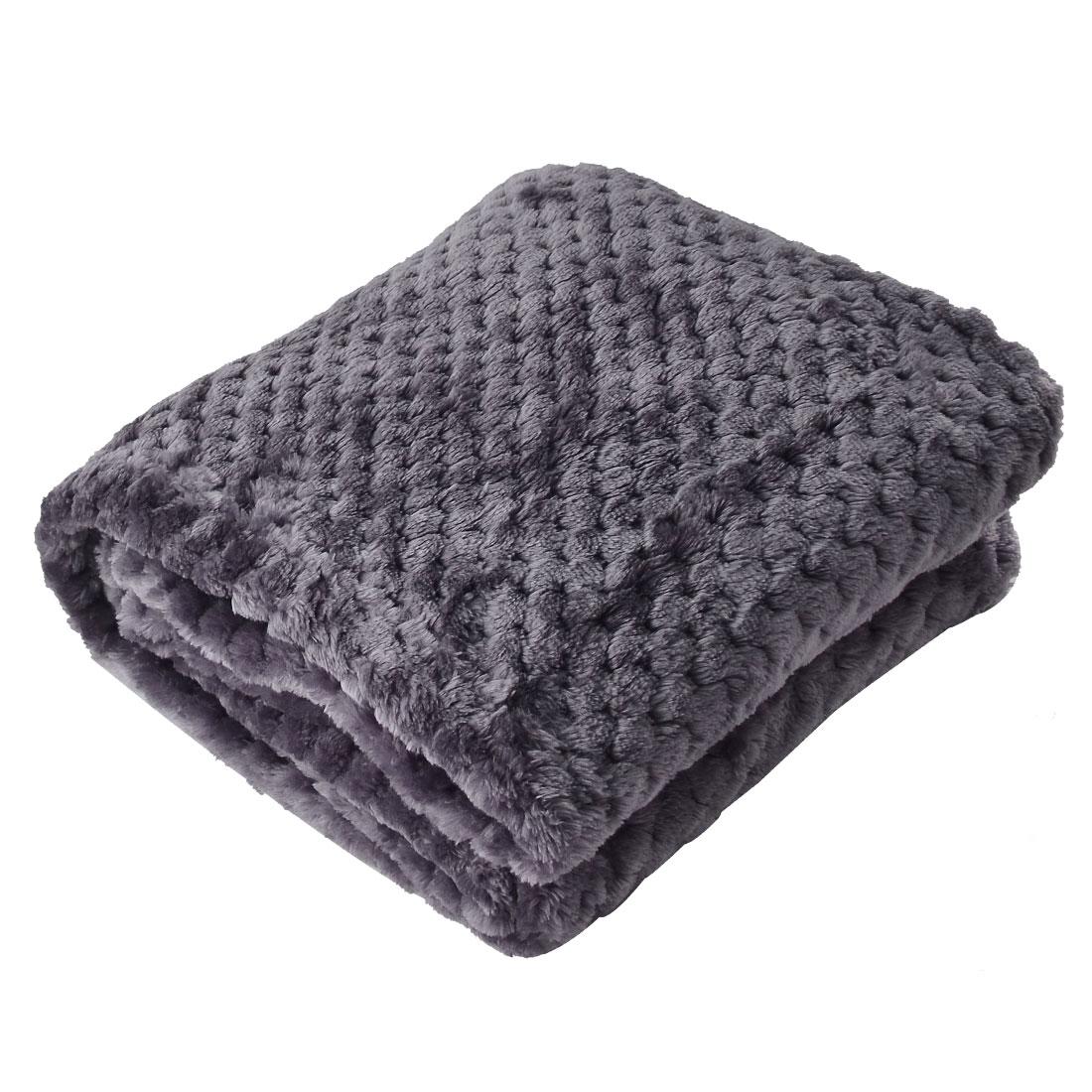 Home Bedroom Travel Warm Soft Throw Mesh Blanket Bed Rug Plush Fleece Lavender