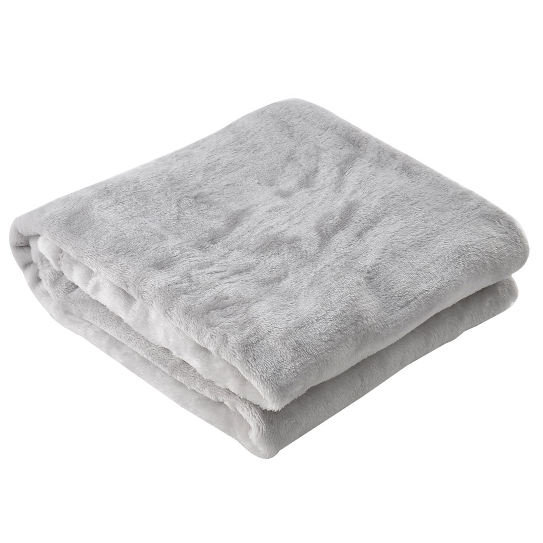 Home Bedroom Warm Soft Throw Pure Blanket Rug Flannel Quilt Silver White