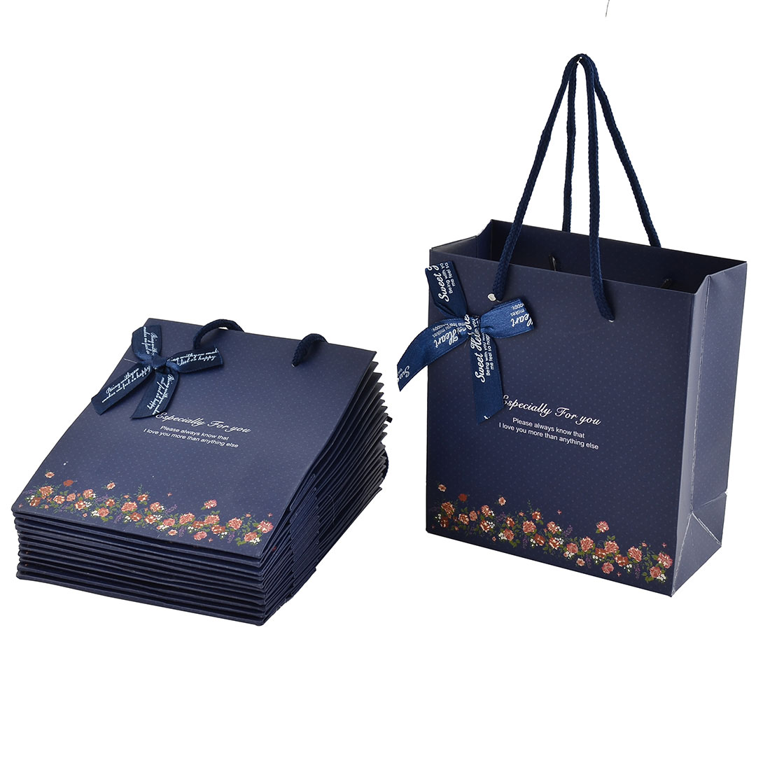 Paper Flower Pattern Birthday Wedding Gift Bags Holder Dark Blue 12pcs