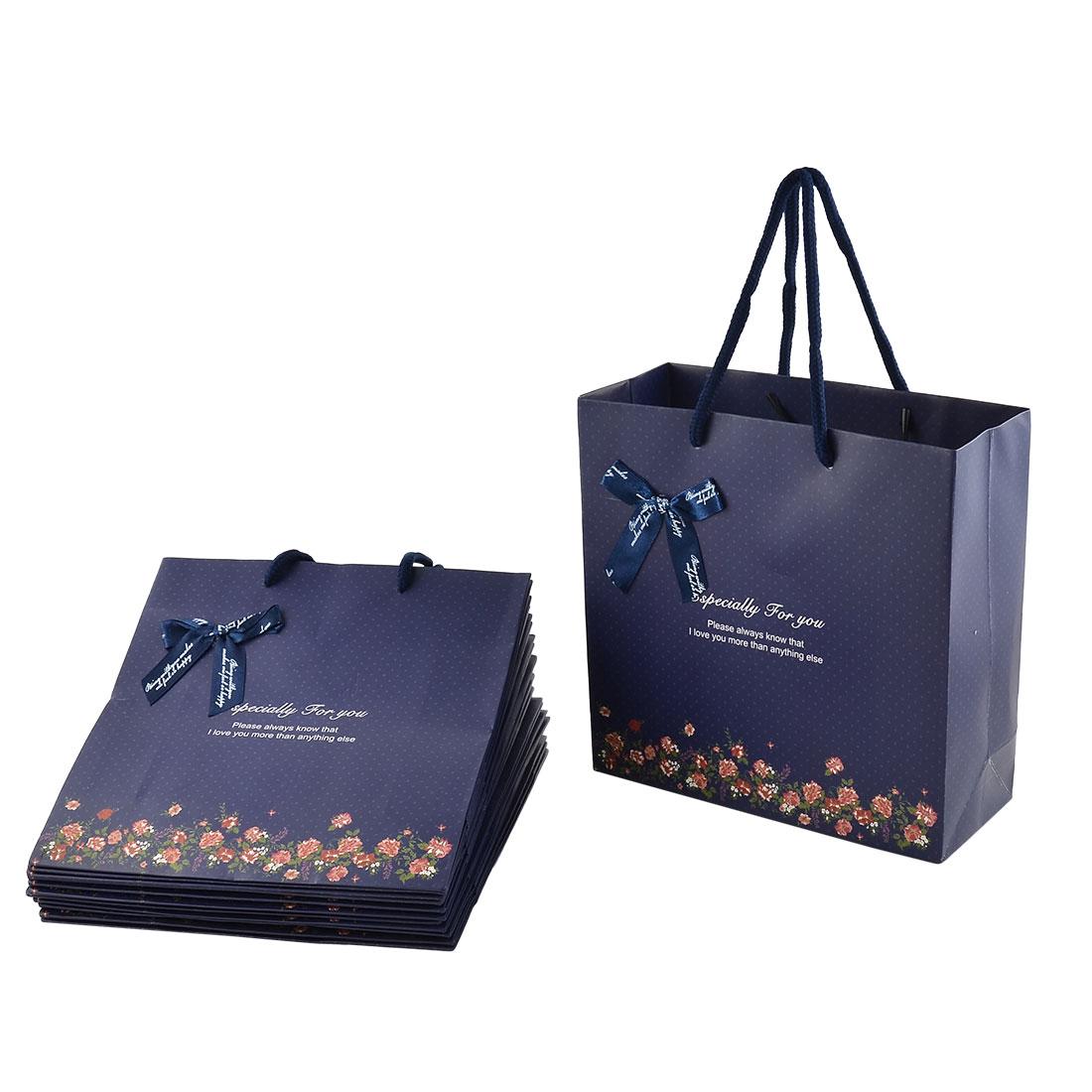 Paper Flower Print Birthday Wedding Gift Bags Holder Dark Blue 12pcs