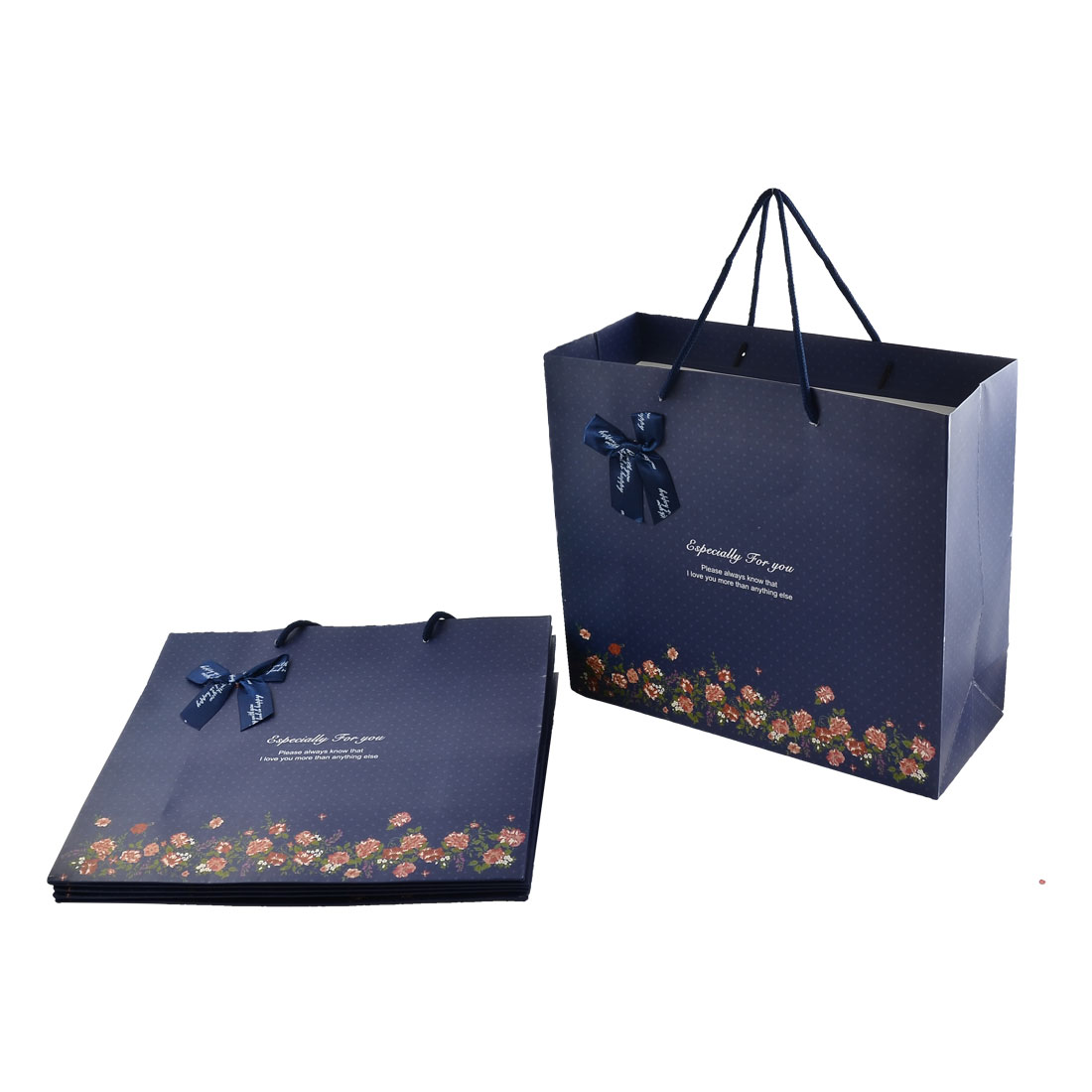 Paper Flower Pattern Large Birthday Wedding Gift Bags Holder Dark Blue 6pcs