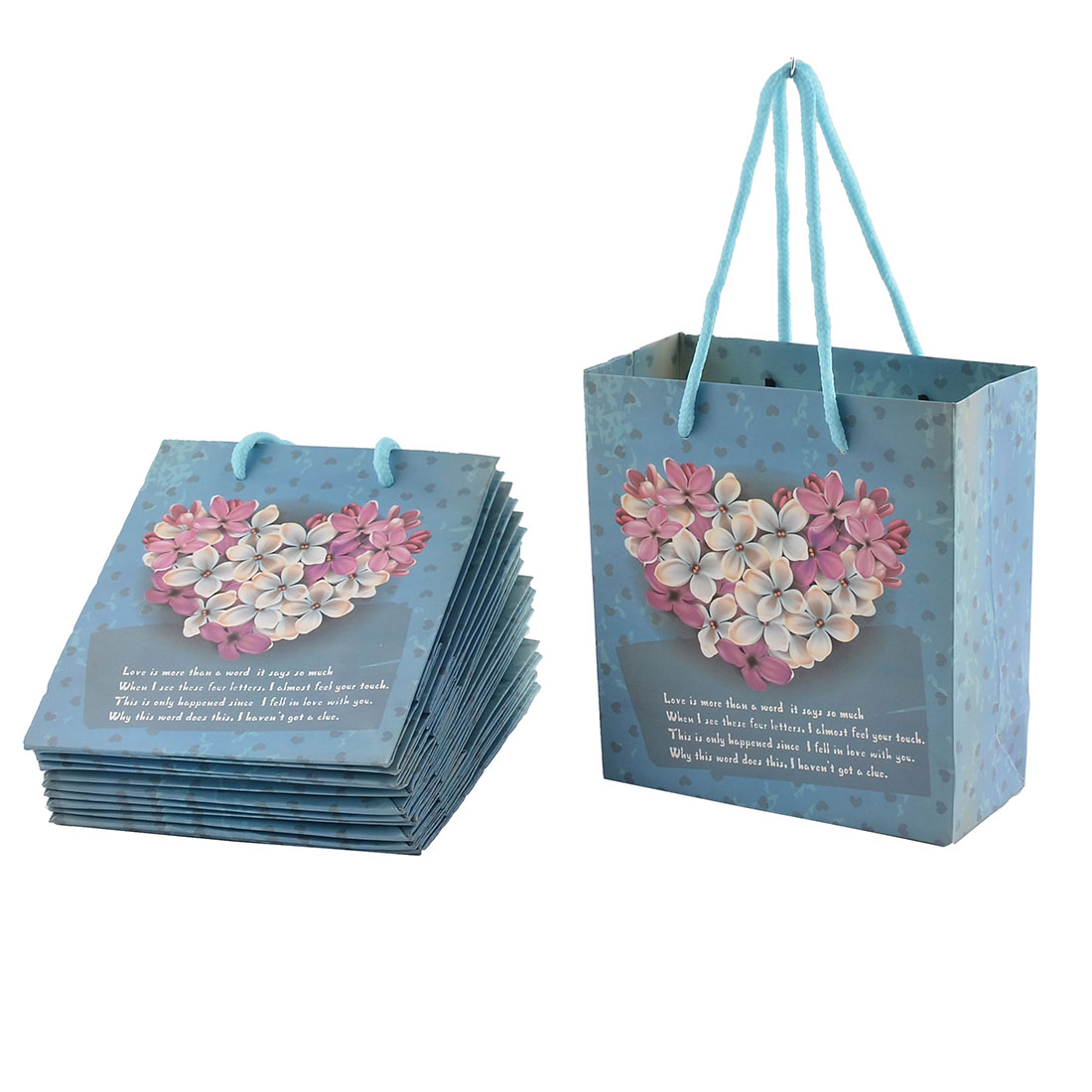 Paper Heart Flowers Pattern Birthday Valentine's Day Gift Bags Holder Blue 12pcs