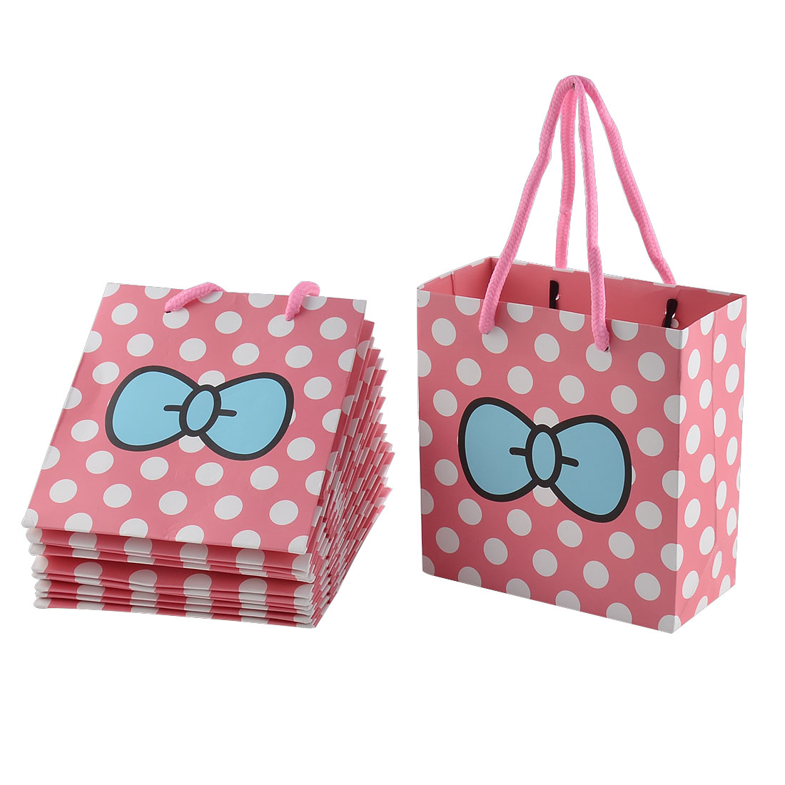 Paper White Dots Bowknot Pattern Birthday Wedding Gift Bags Holder Pink 12pcs