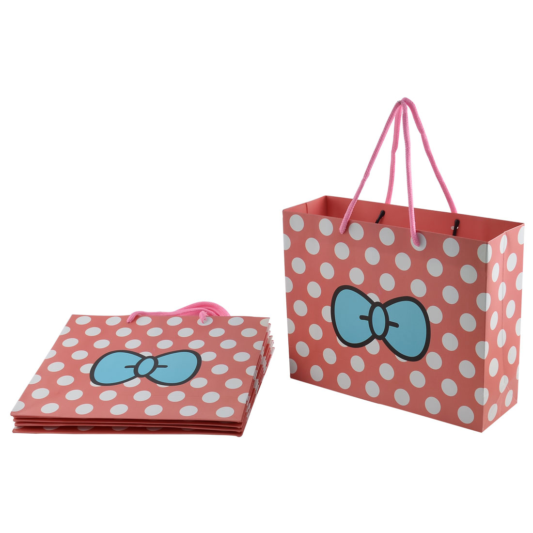 Paper White Dots Bowknot Pattern Birthday Gift Bags Holder Pink 6pcs