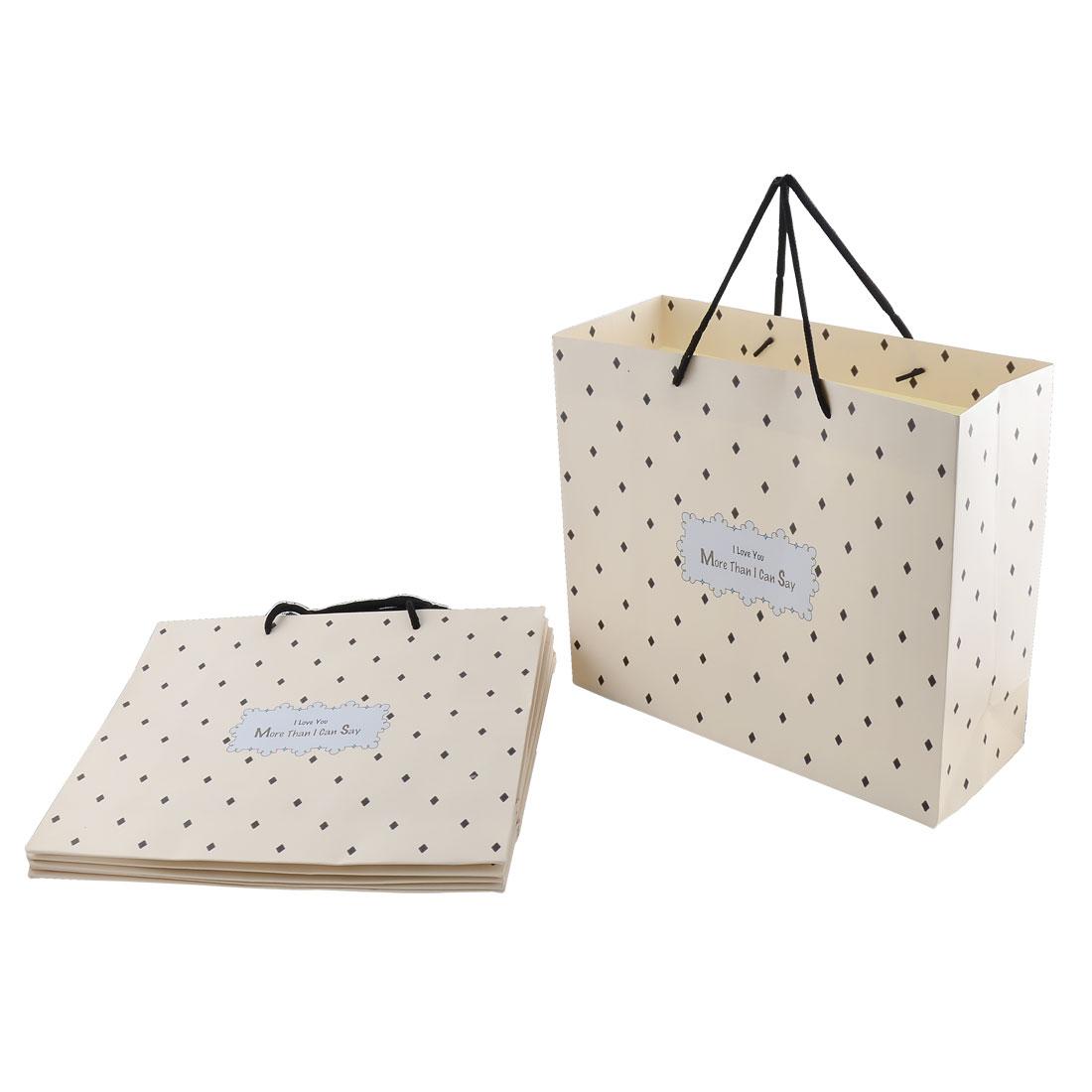 Paper Rhombus Pattern Shopping Wedding Gift Bags Holder Off White 6pcs