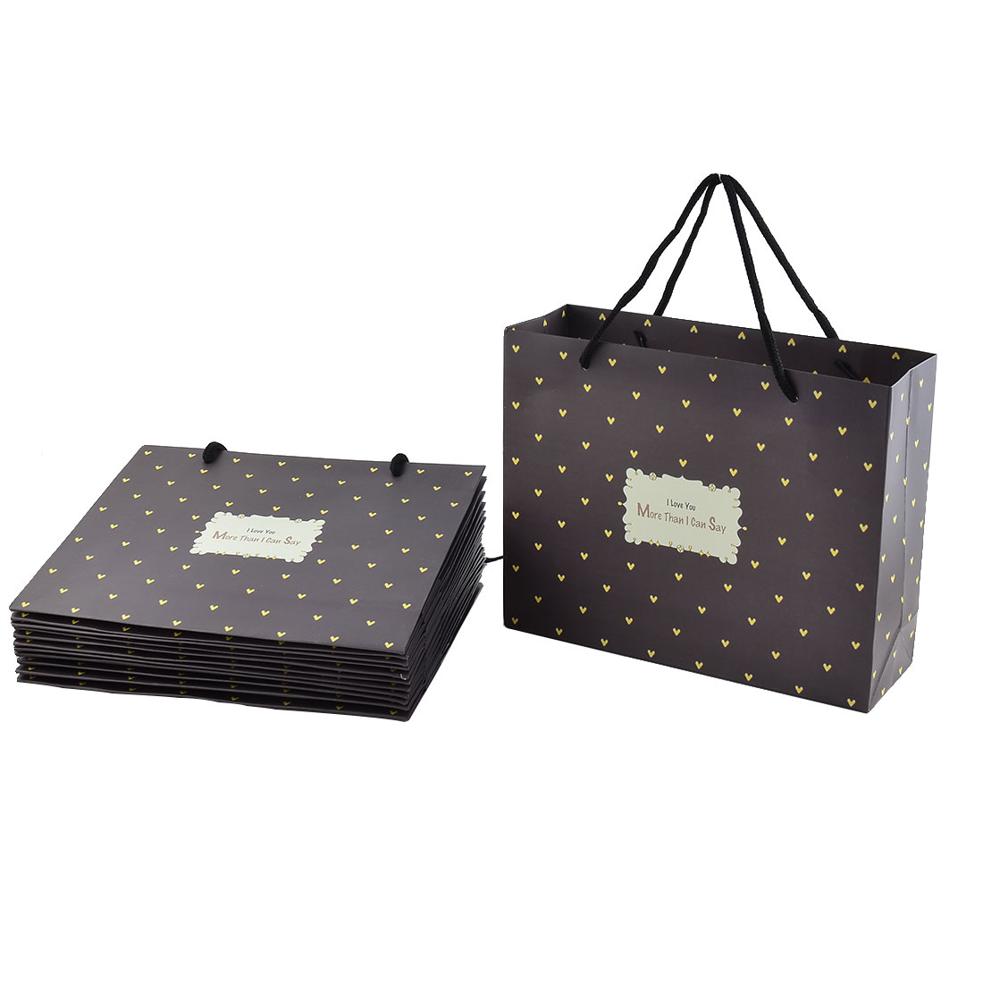 Paper Heart Pattern Birthday Gift Shopping Bags Packet Chocolate Color 12pcs