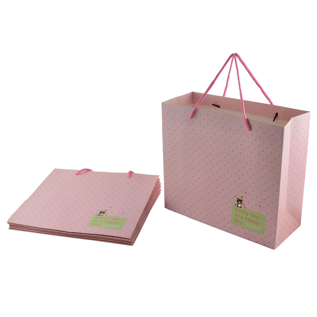 Paper Dots Bear Printed Birthday Gift Bags Boxes Holder Pink 6pcs