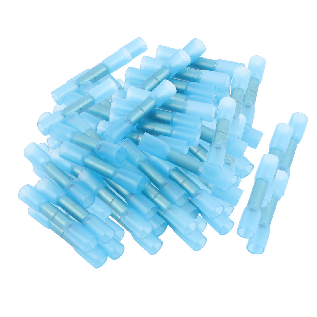 100 Pcs BHT2 Heat Shrink Electrical Shrinkable Solder Wire Butt Terminals AWG 16-14 Blue