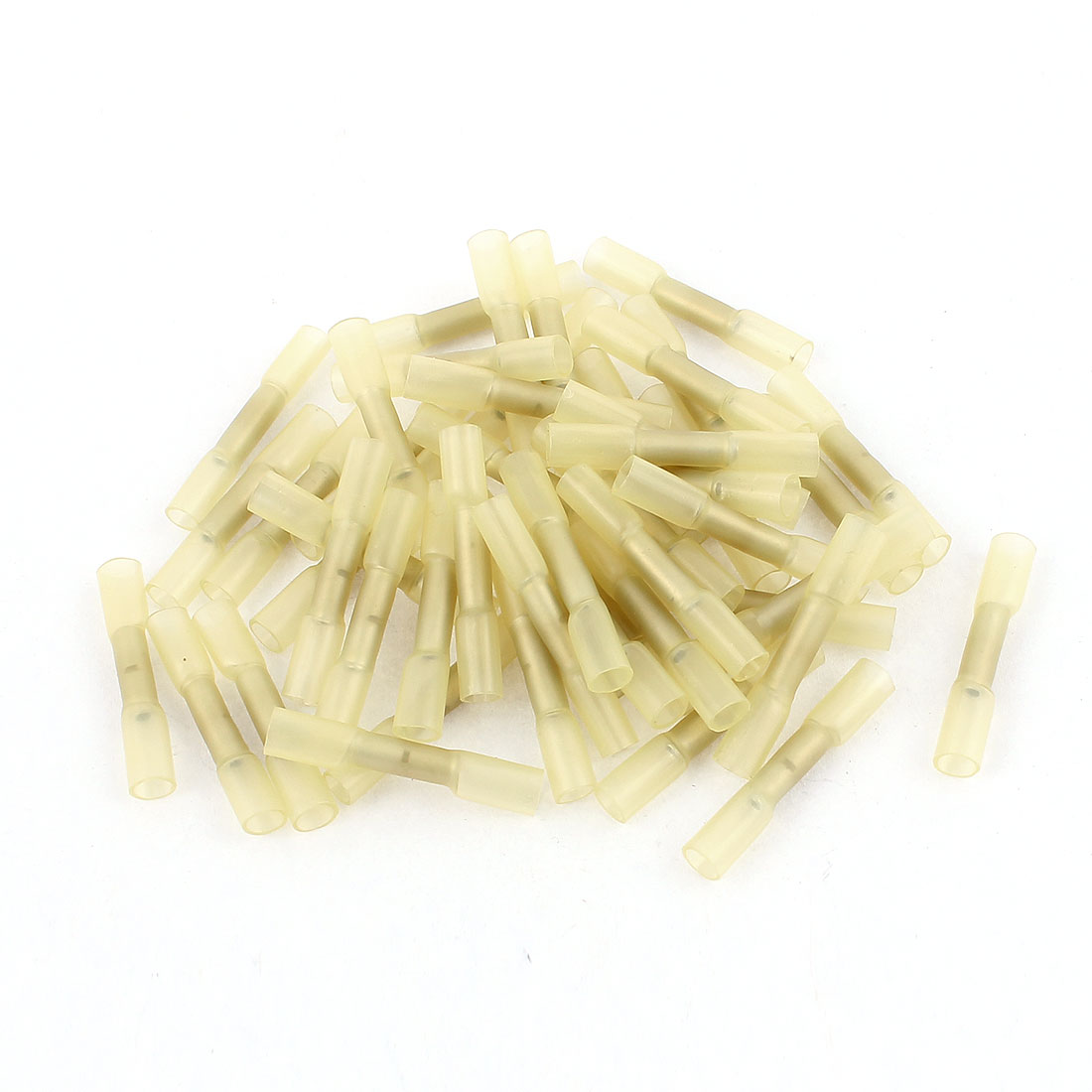 50 Pcs BHT0.5 Heat Shrink Electrical Waterproof Solder Wire Butt Terminals AWG 26-22 Yellow