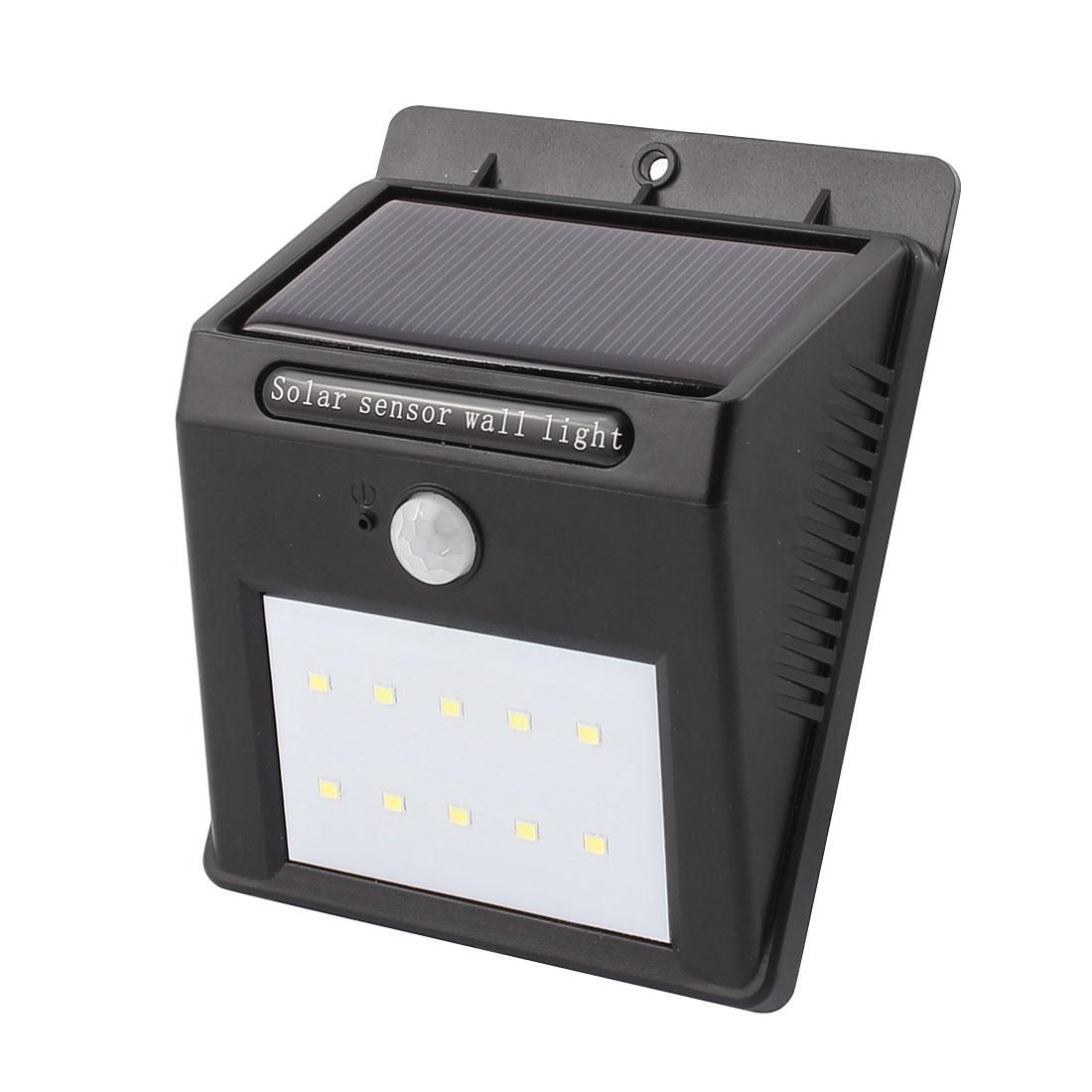 LED Solar Wall Light PIR CDS Motion Sensor Lamp 10 LEDs Waterproof Outdoor Garden