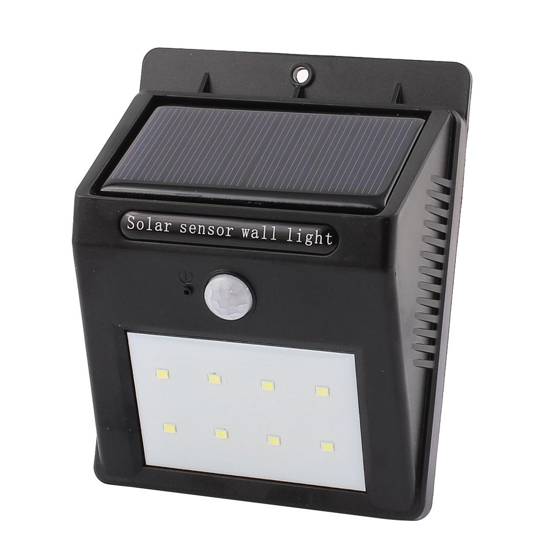 LED Solar Wall Light PIR CDS Motion Sensor Lamp 8 LEDs Waterproof Outdoor Garden