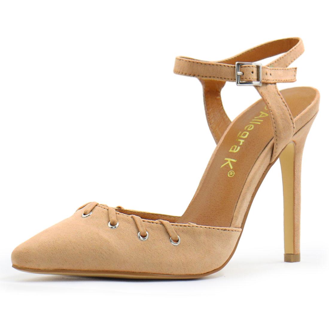 Women Pointed Toe Stiletto Lace Up Decor Ankle Strap Pumps Beige US 7.5