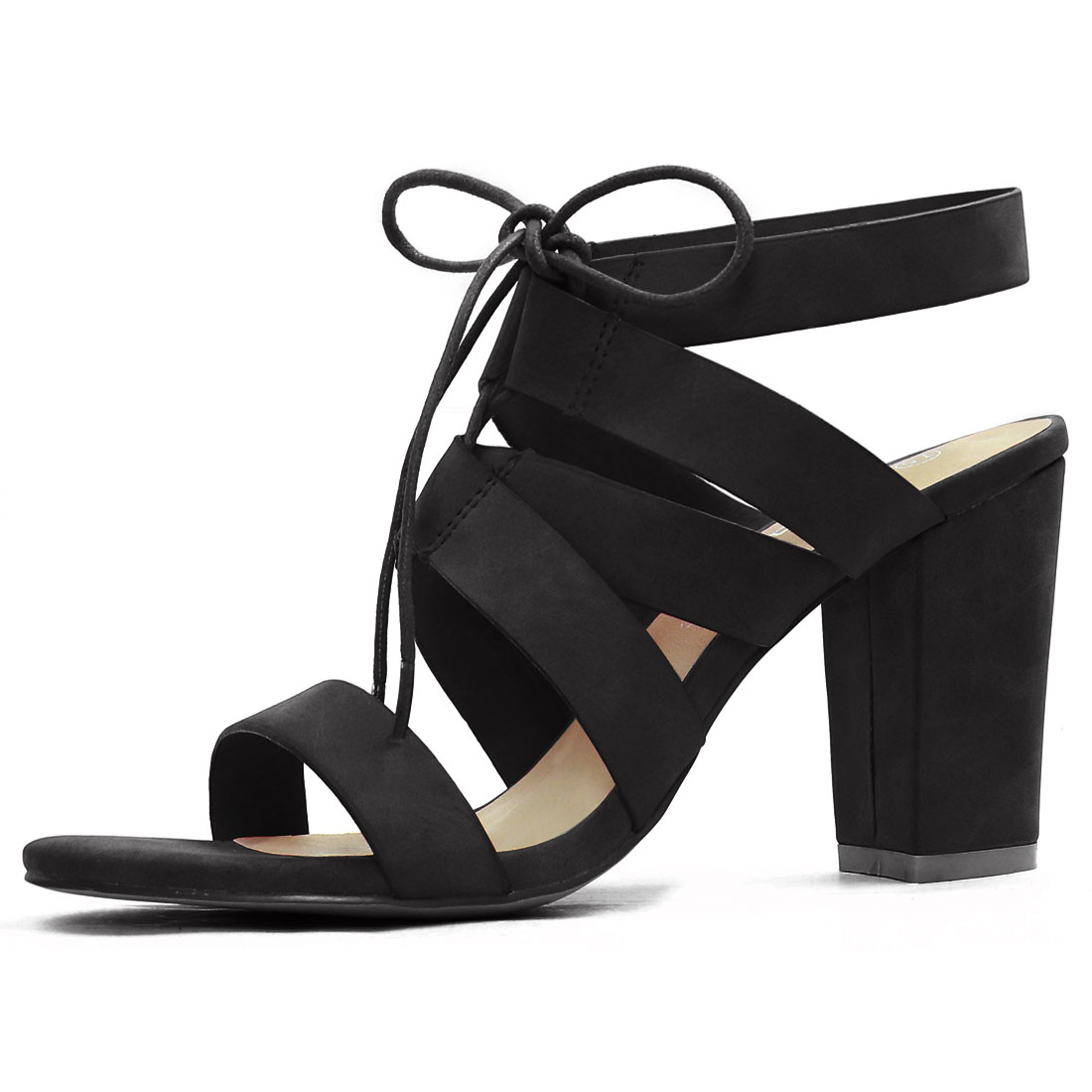 Women Chunky High Heels Cutout Detail Lace Up Sandals Black US 8.5