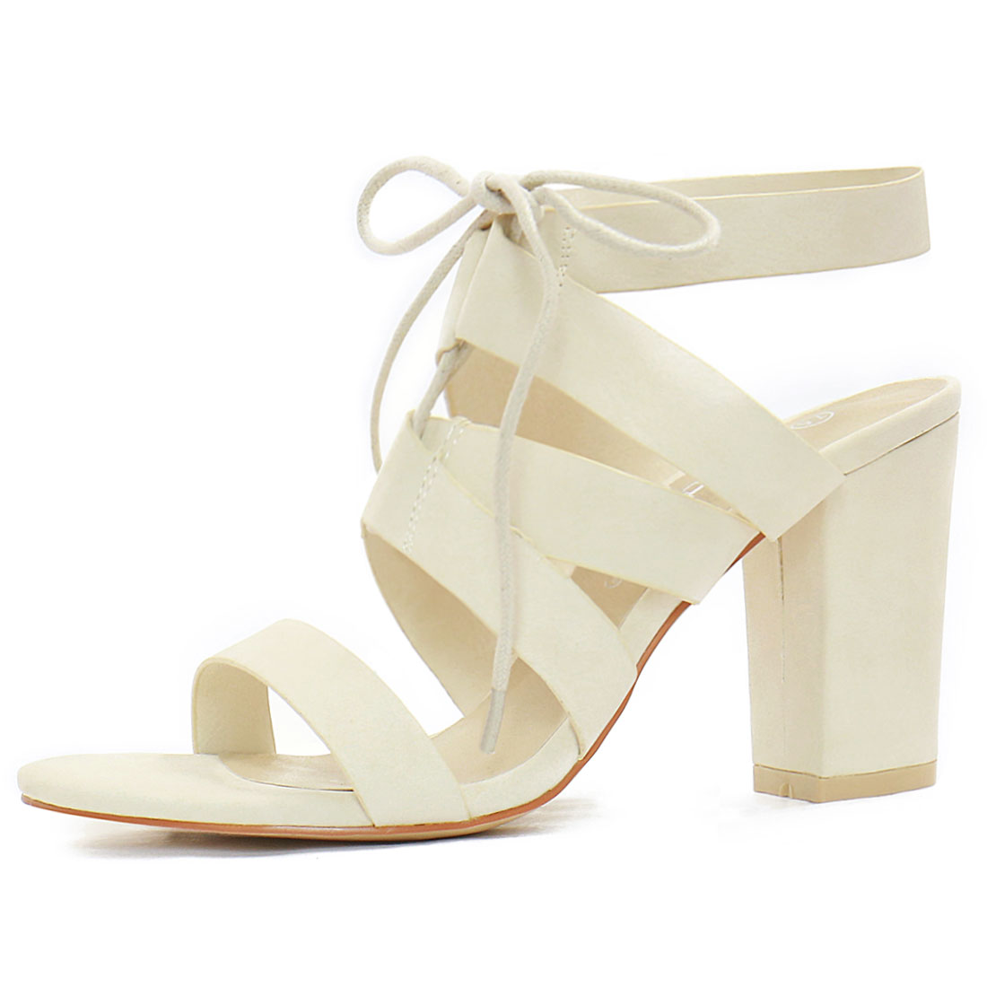 Women Chunky High Heels Cutout Detail Lace Up Sandals Ivory US 7