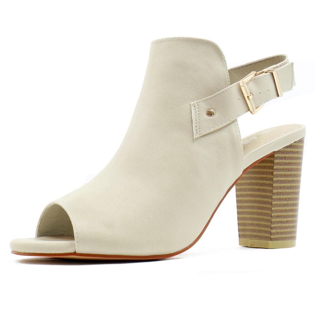 Women Peep Toe Slip On Stacked Heel Slingback Sandals Ivory US 7