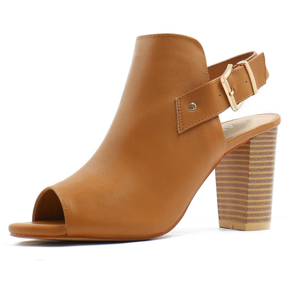 Women Peep Toe Slip On Stacked Heel Slingback Sandals Camel US 5.5