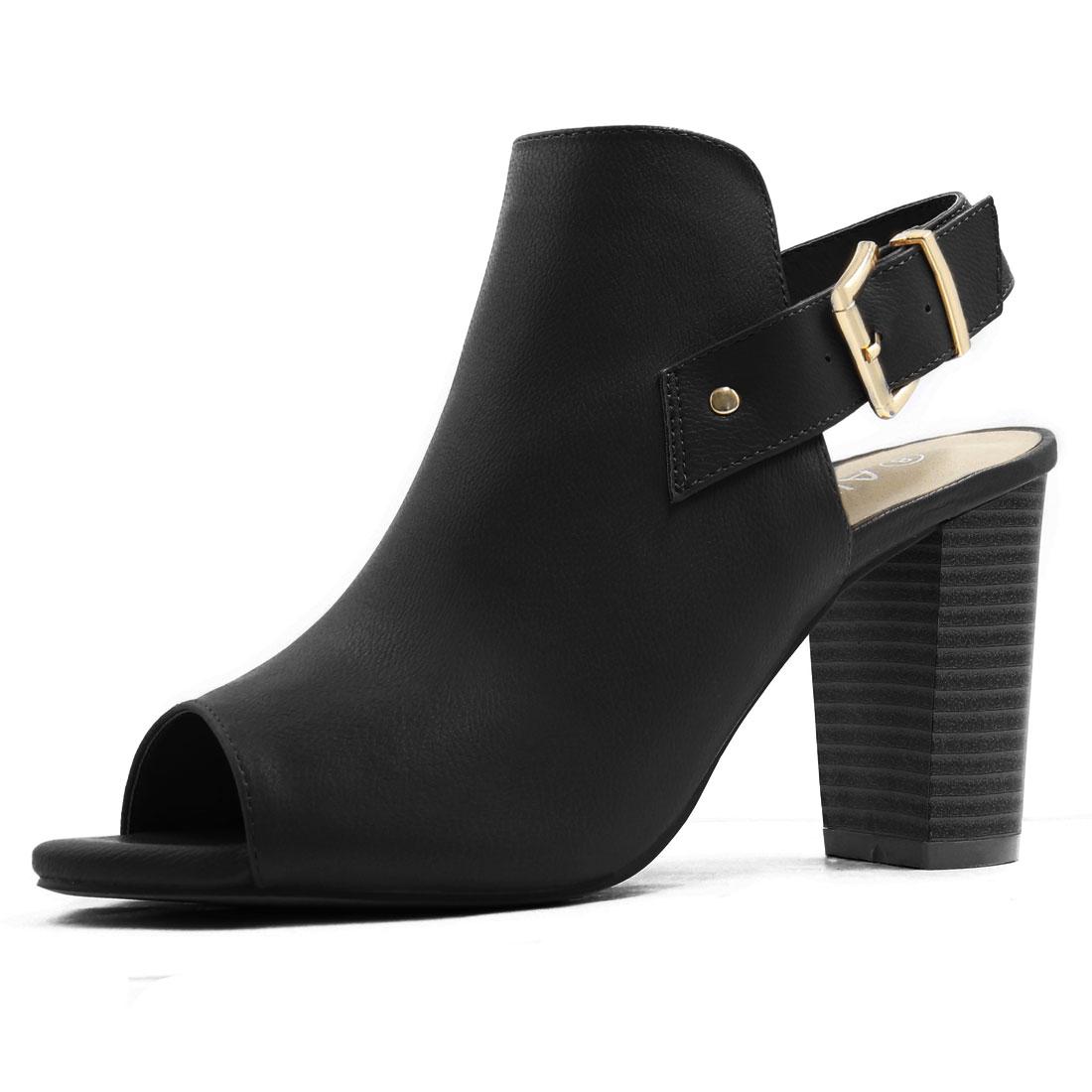Women Peep Toe Slip On Stacked Heel Slingback Sandals Black US 5.5