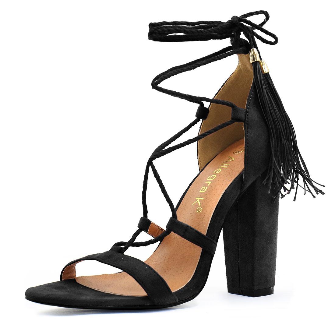Women Chunky High Heel Tassel Closure Lace Up Sandals Black US 7.5