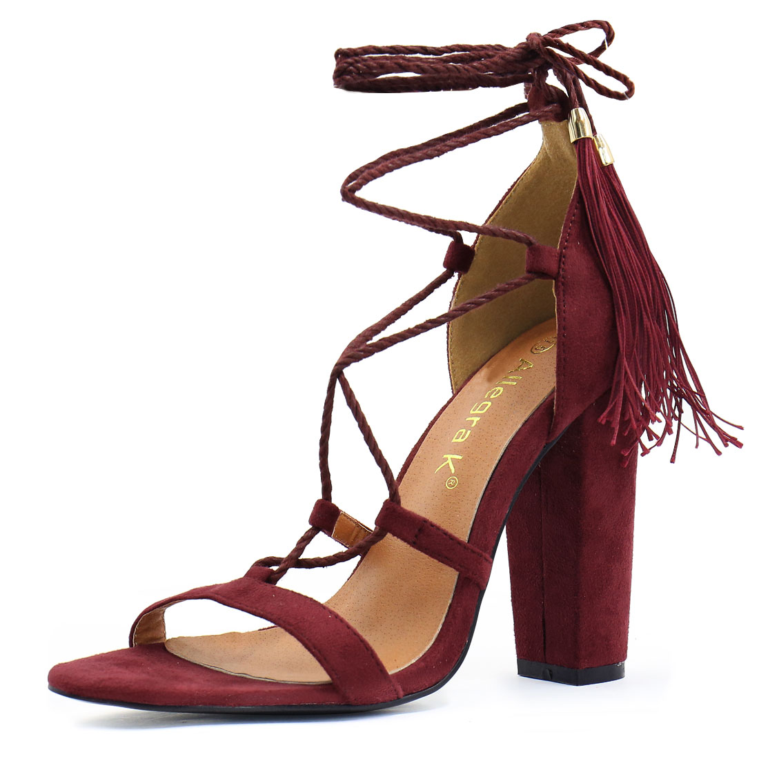 Women Chunky High Heel Tassel Closure Lace Up Sandals Wine US 7.5