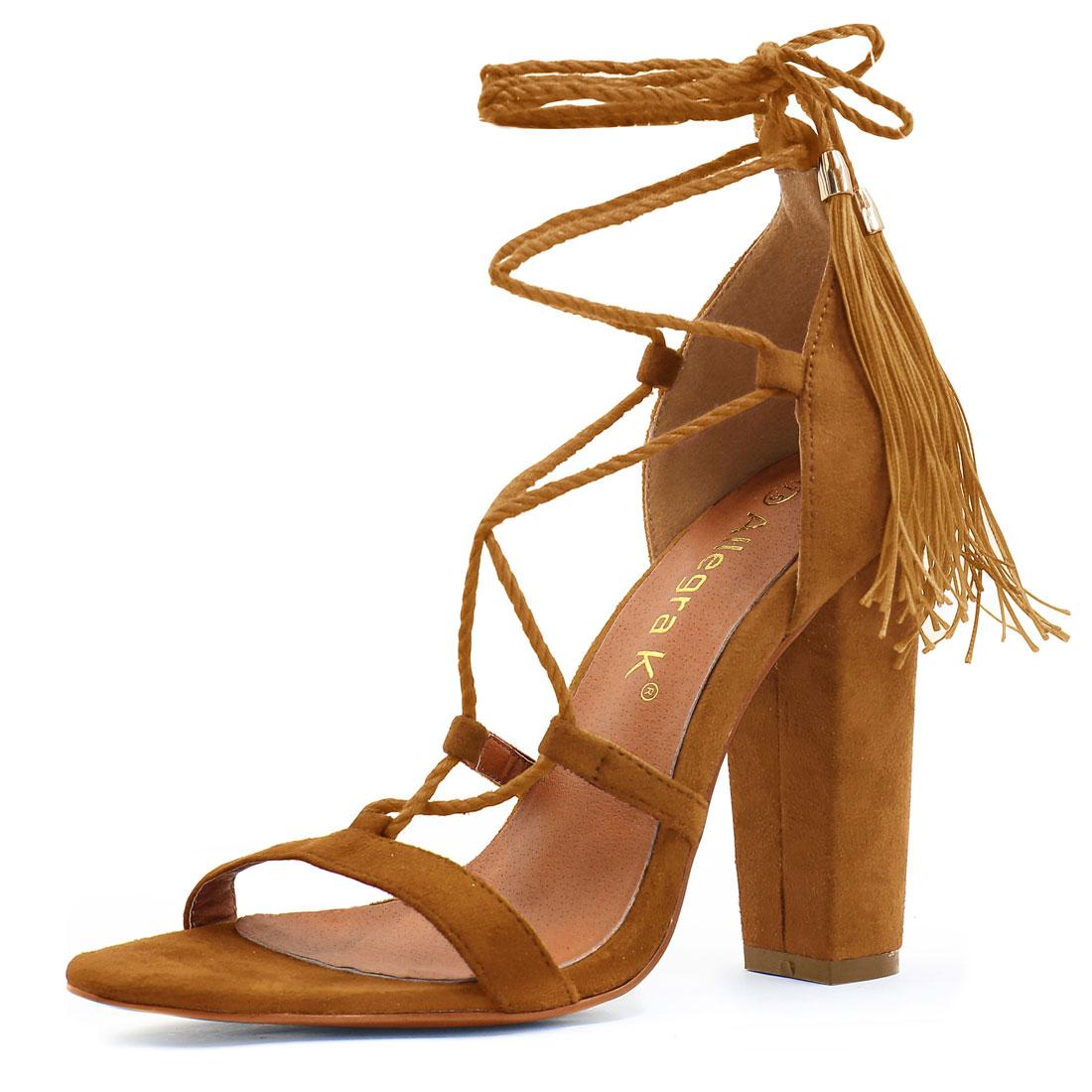 Women Chunky High Heel Tassel Closure Lace Up Sandals Camel US 6.5