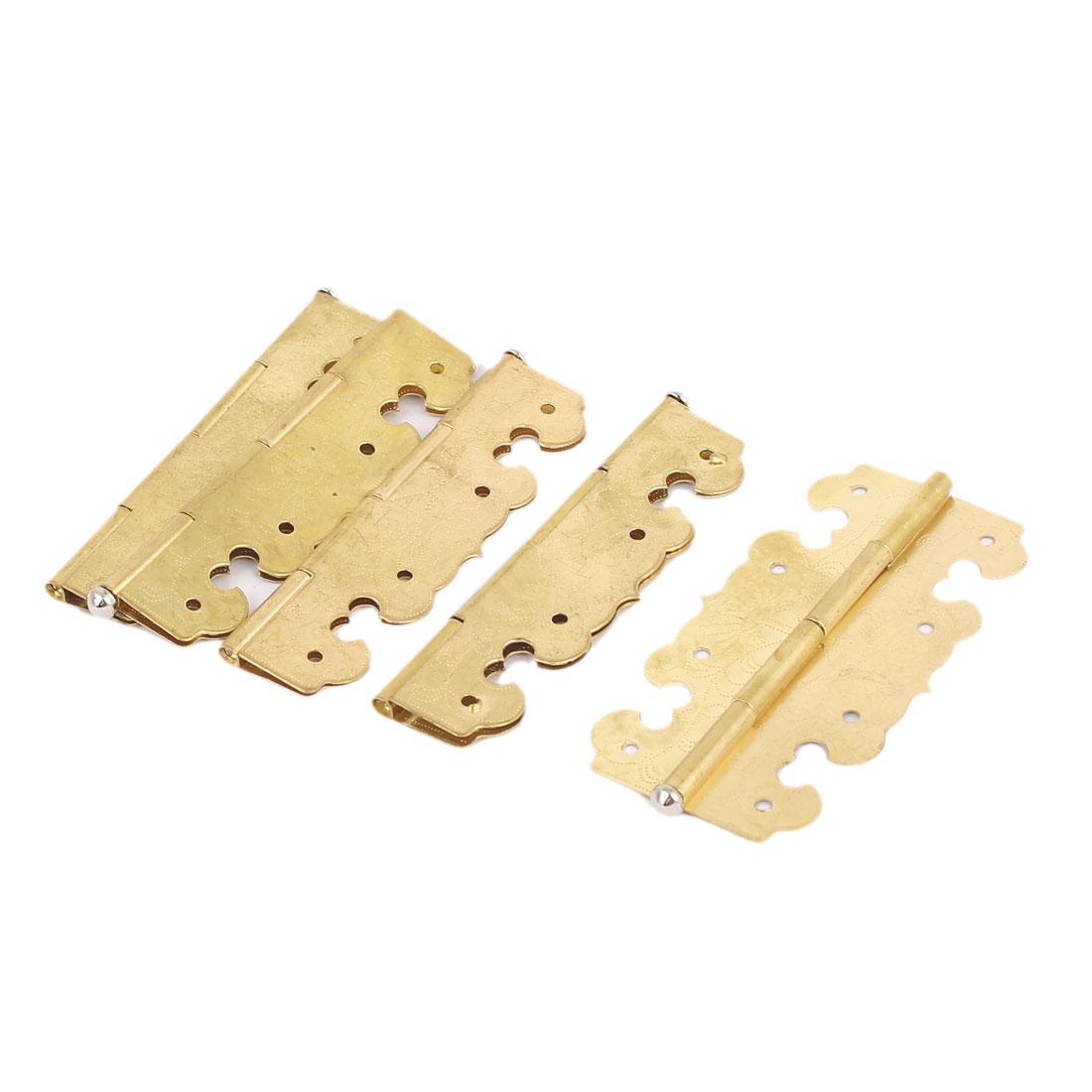 Cupboard Drawer Cabinet Brass Door Hinge 67mm x 34mm 5PCS