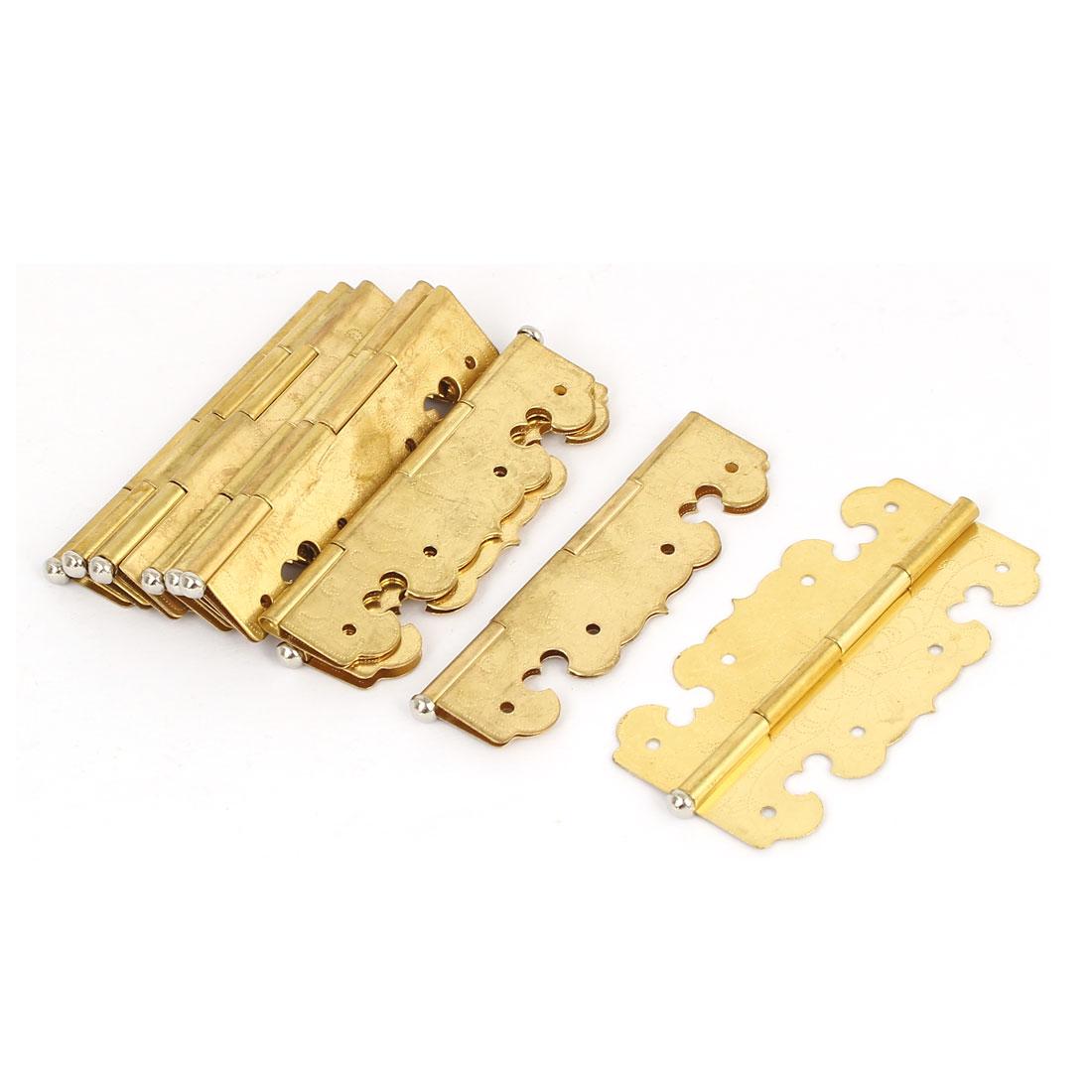 Cupboard Drawer Cabinet Brass Door Hinge 67mm x 34mm 10PCS