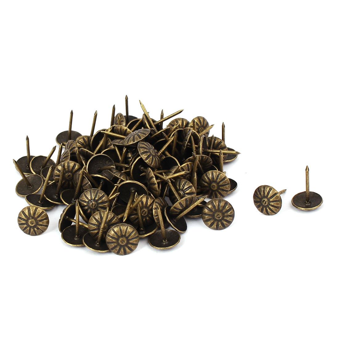10mm x 15mm Iron Vintage Style Chrysanthemum Upholstery Nail Thumb Tack 100PCS