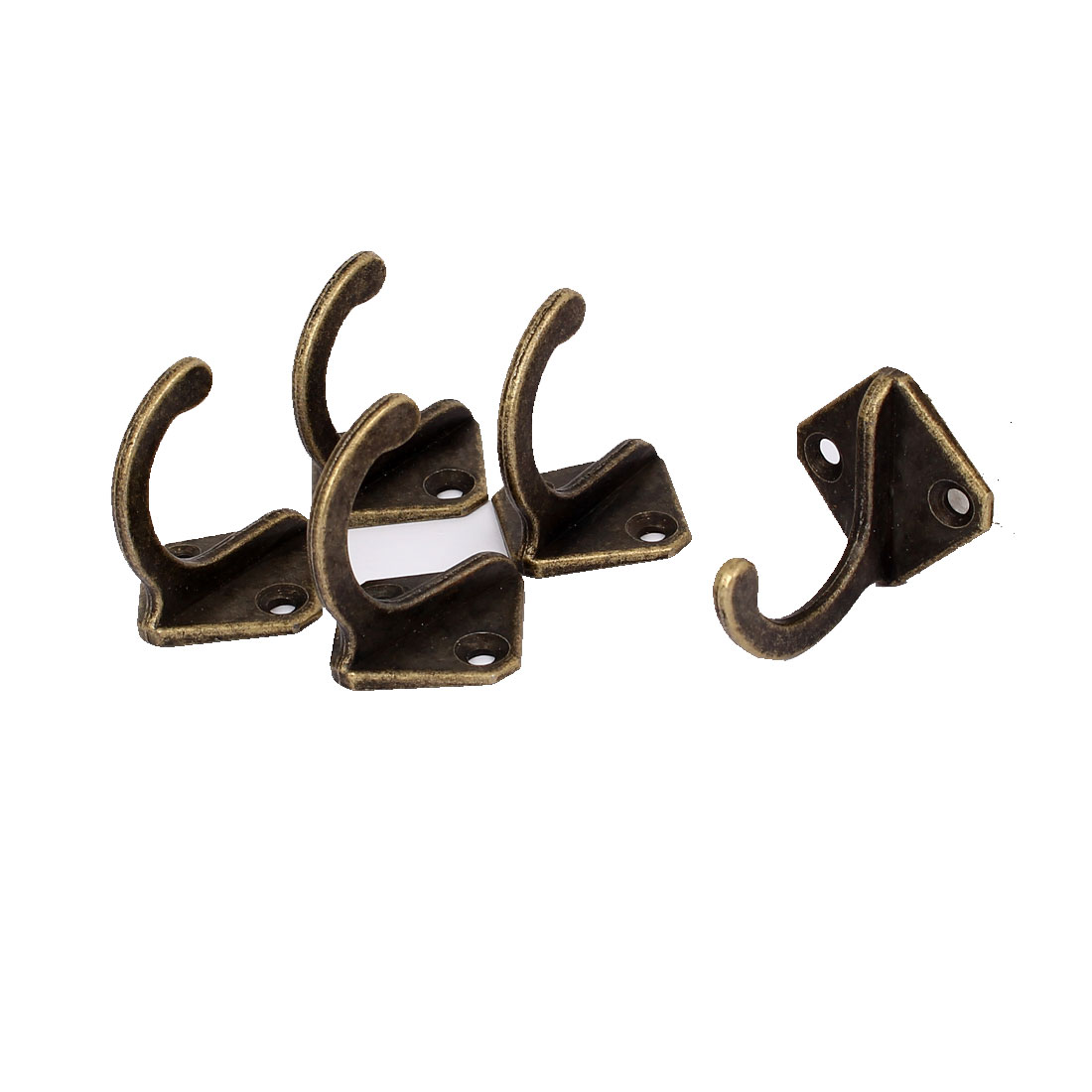 28mm x 28mm Robe Hat Coat Wall Hanging Hook Single Prong Hanger Bronze Tone 5PCS
