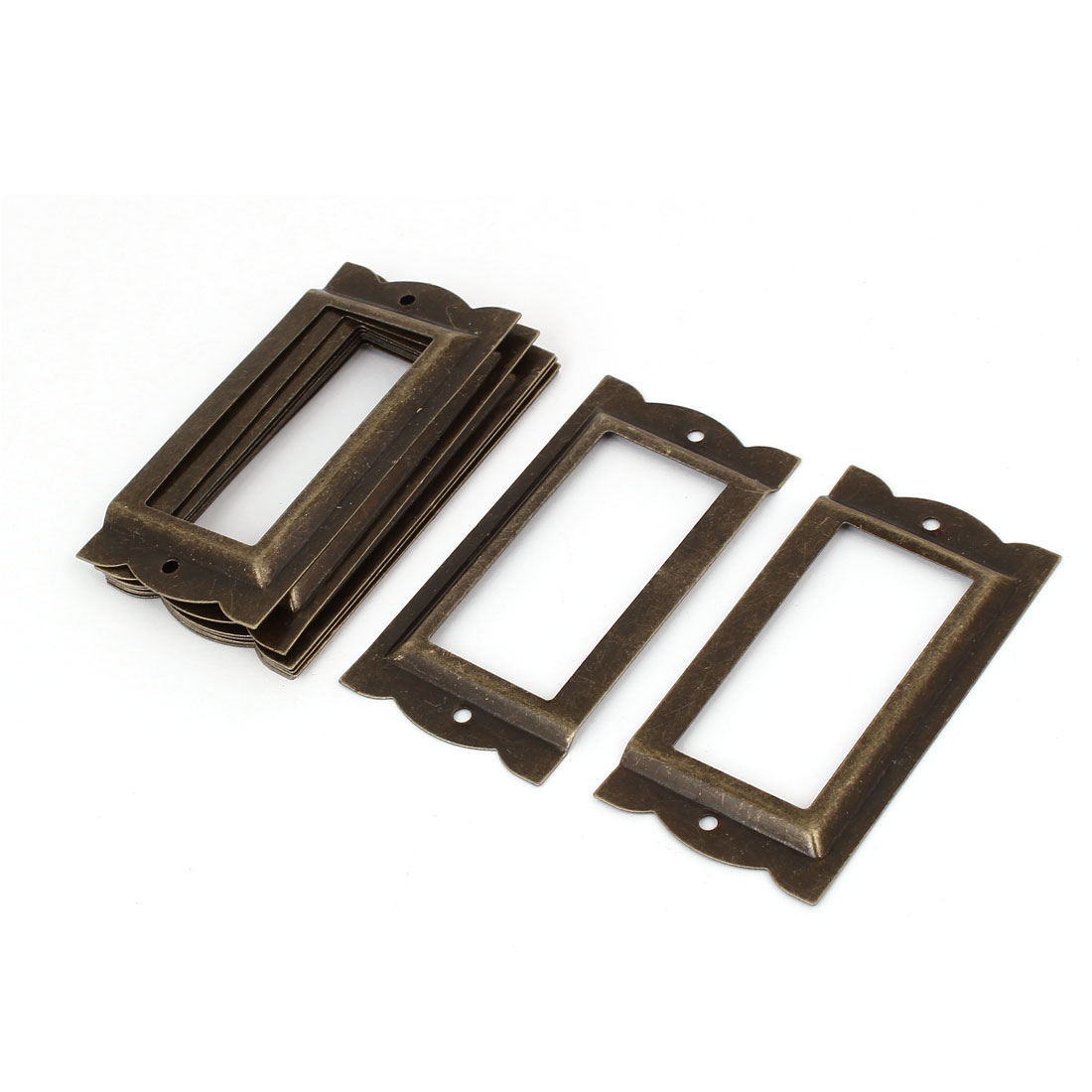 Office Library File Drawer Iron Tag Frame Label Holder Bronze Tone 10pcs