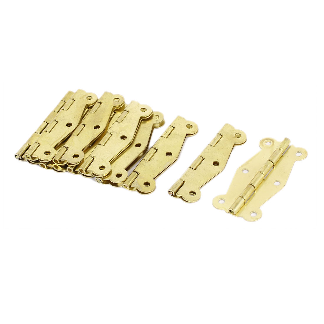 Closet Cabinet 6-Hole Door Hinge Gold Tone 51mm x 24mm 10PCS