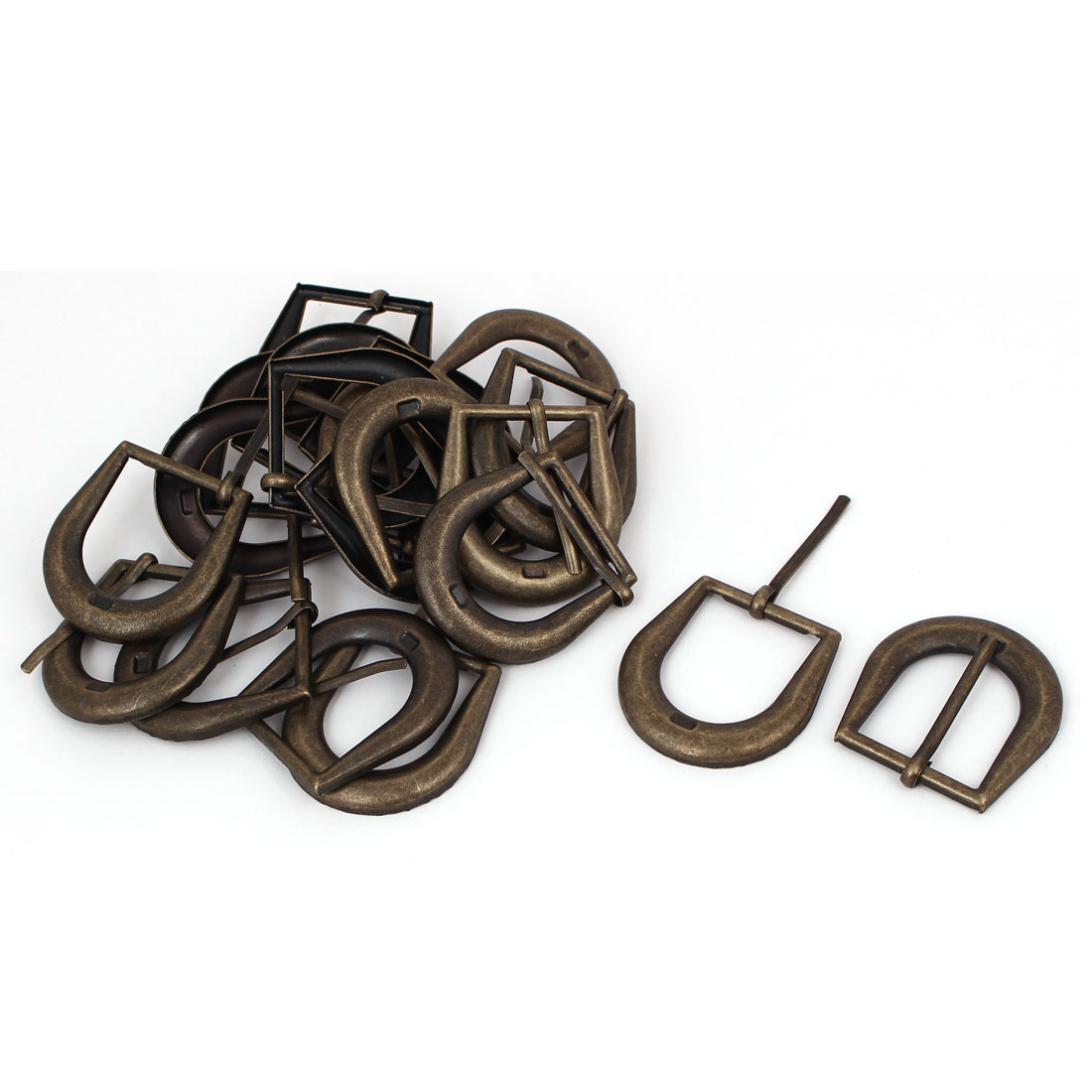 Leather Belt Iron Vintage Style Single Pin Buckle Bronze Tone 20pcs