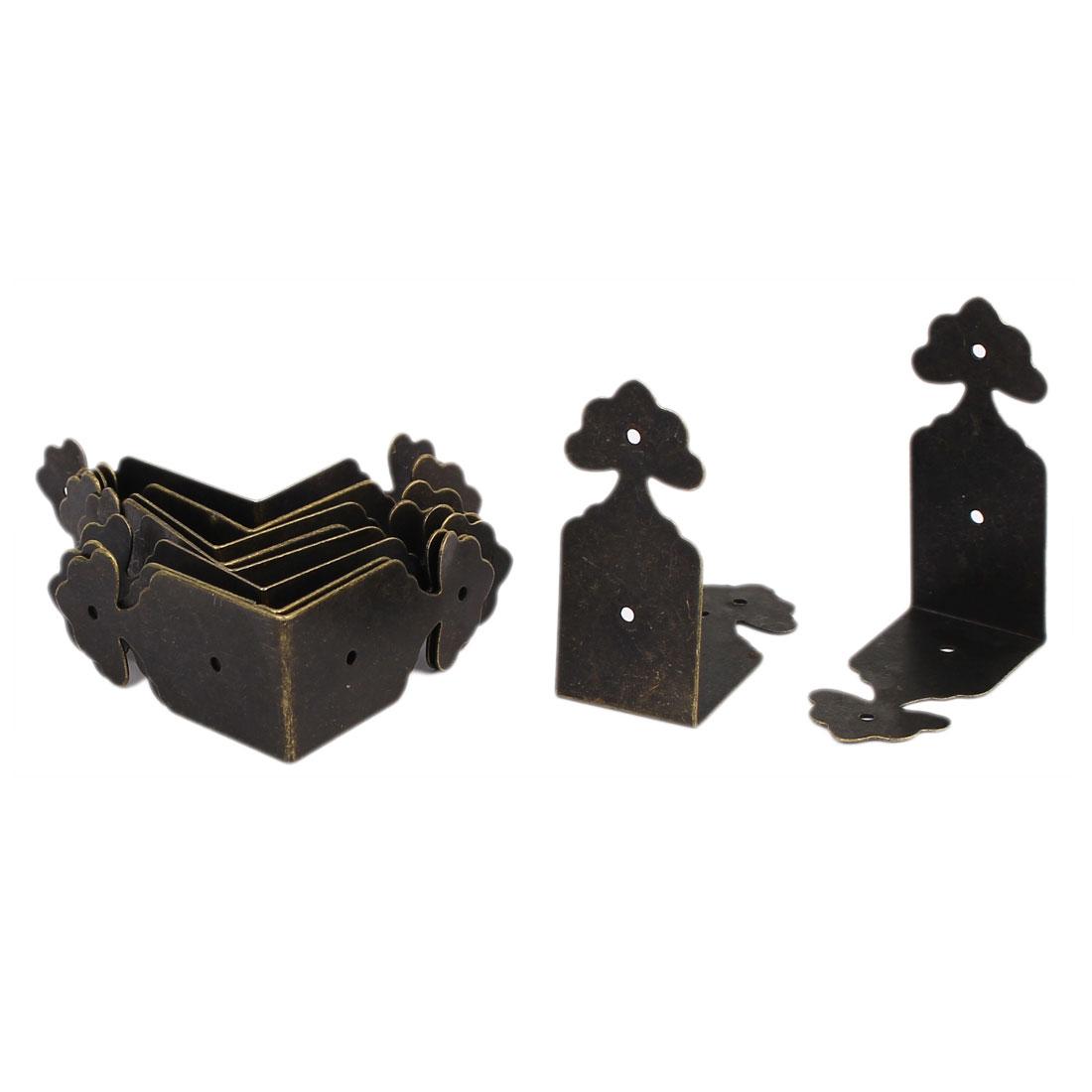 39mm x 18mm Antique Style Box Desk Edge Cover Corner Protector Bronze Tone 10PCS