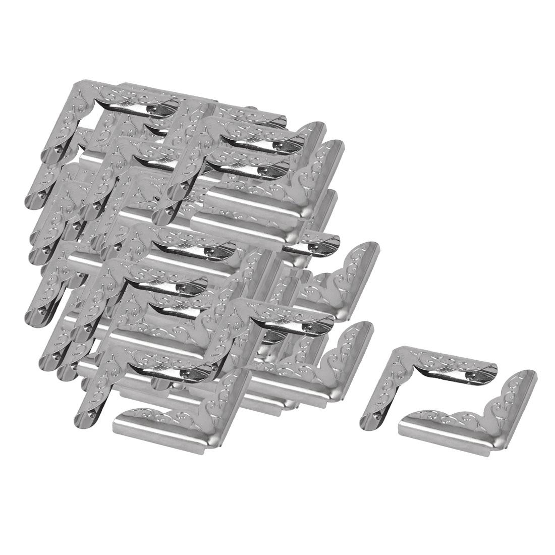 Jewelry Case Box Book Iron Corner Protector Silver Tone 22mmx6mm 100pcs